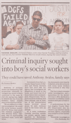 Newspaper article about Anthony Avalos case